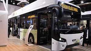 Foto nieuwe electrische Arriva Bus op beurs