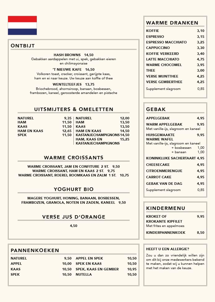 Nieuwe Kafé menukaart pagina 2