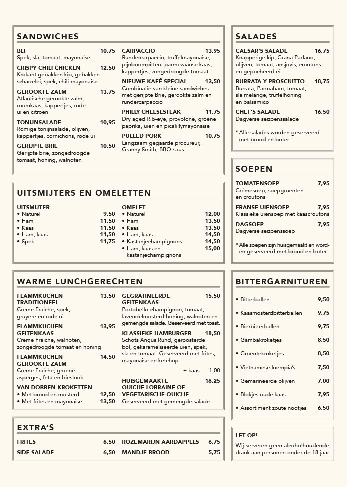 Nieuwe Kafé menukaart pagina 3