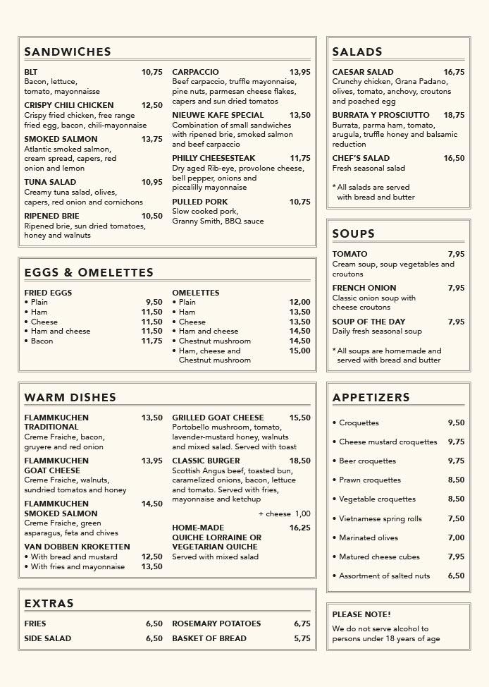 Nieuwe Kafé menukaart pagina 7